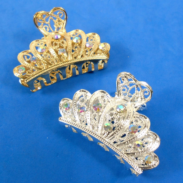 """2.5"""" Gold & Silver Cast Heart Top Jaw Clips w/ Clear & Ab Crystal Stones 12 per pk .56 each"""