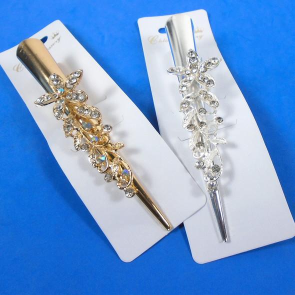 "5"" Metal Gold /Silver Salon Clips w/ Clear Crystal Stone Starfish  .58 ea"