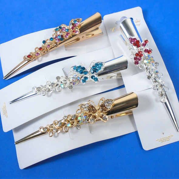 """5"""" Metal Gold & Silver Salon Clips w/ Colored  Crystal Stones Butterfly   .58 ea"""