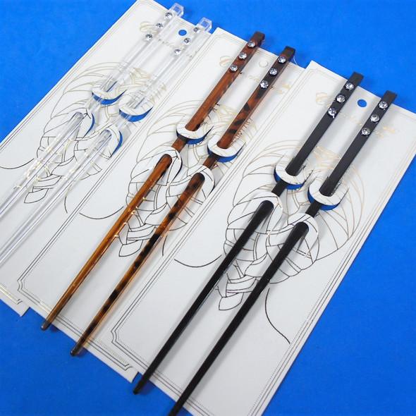 "7""  Hair Chopsticks w/ Clear Crystal Stones 3 colors   .56 per set"