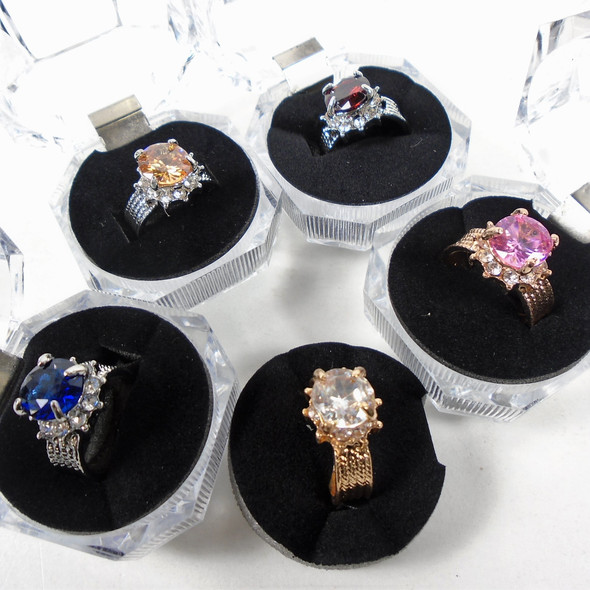 Gold & Silver Textured Fashion Rings w/ Crystal Stone in Ind. Clear Box  .60 ea