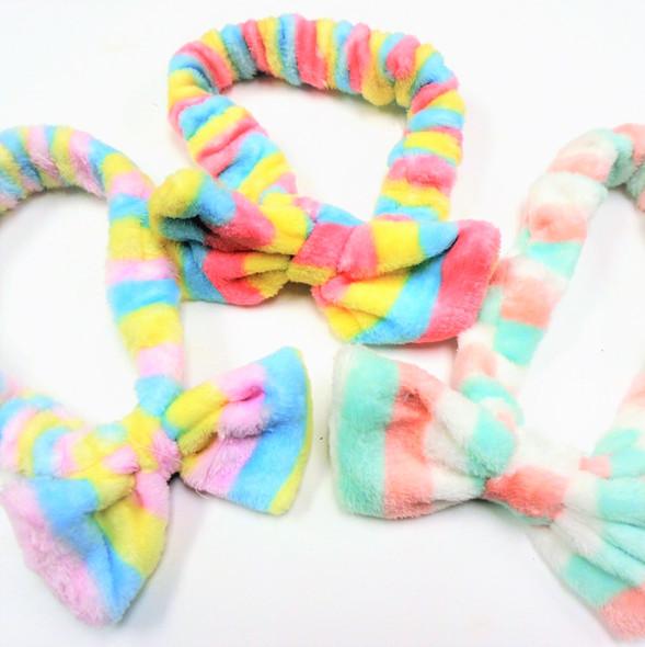 Trending  Soft SPA/Beach Stretch Headband Stripe Pattern w/ Bow   .58 each