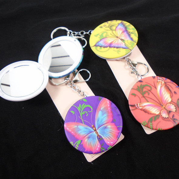 """3"""" Butterfly Theme DBL Mirror Compact w/ Clip & Keychain  .60 each"""