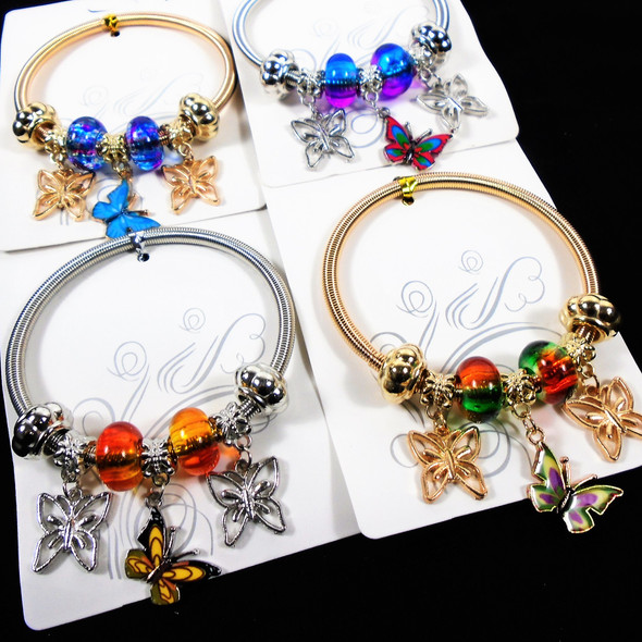 Gold & Silver Spring Style Beaded Bracelet w/ Butterfly Charms  .58  each