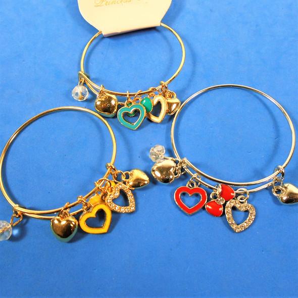 Kids Gold & Silver Wire Bangle Bracelet Heart Theme Charms .54 each