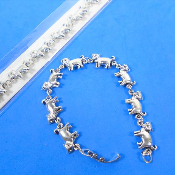 Cast Silver Linked Cat Lovers  Fashion Bracelets  12 per pk  .75 each