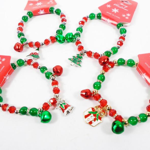 POPULAR PICK Christmas Jingle Bell Stretch Charm Bracelet 12 per pk  .60 each