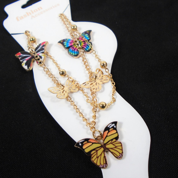 2 Line Gold Chain Anklet w/  Butterfly Charms  .58 each