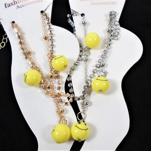 2 Line Gold/Sil Chain & Rhinestone Anklet w/  Happy Face Beads  .58 each