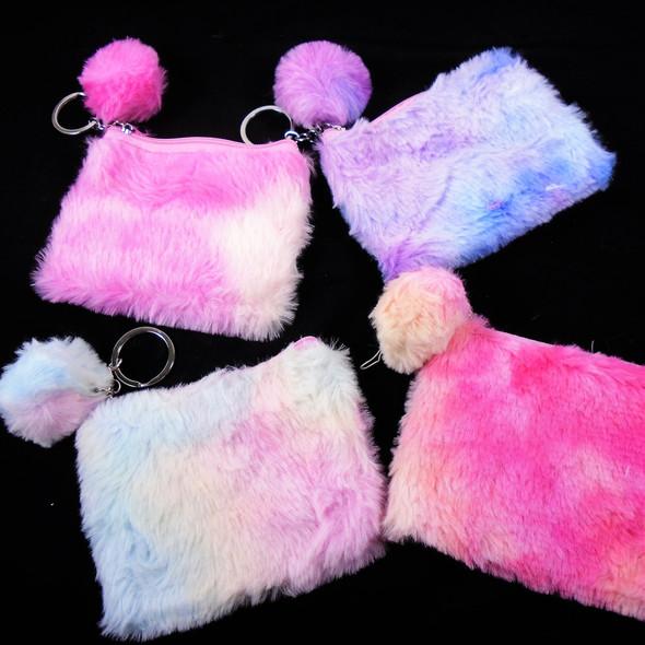 """3.5""""  X 4.75"""" Tye Dye Faux Fur Zipper Bag w/ Pom Pom  .62 ea"""