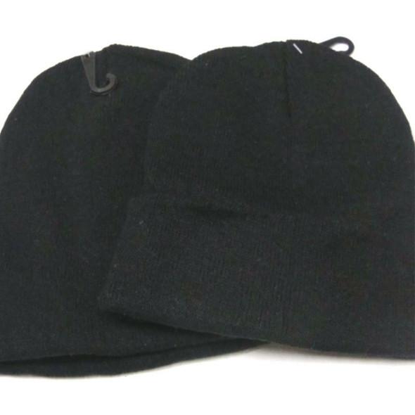 Children's Size Knit Winter Beanie Caps All Black  .62 each