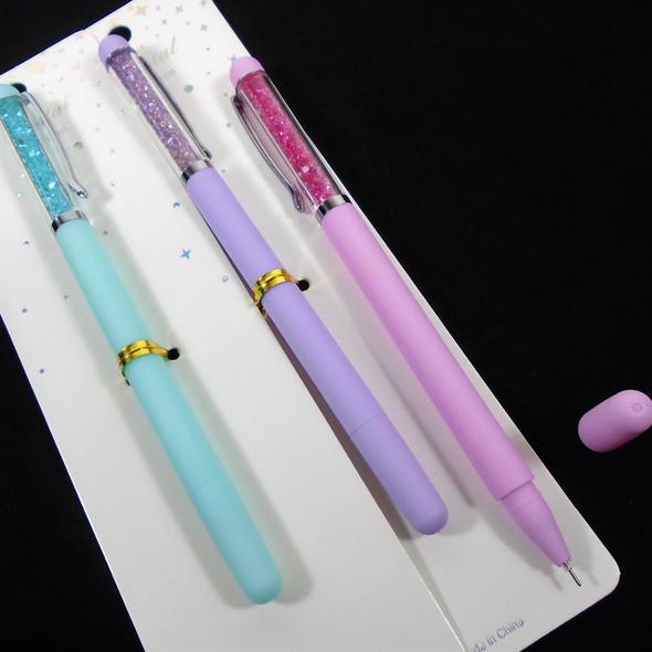 """6.5"""" Gel Tip  Novelty Pens w/ Clip & Mini Crystals   12 per pk  .60 each"""