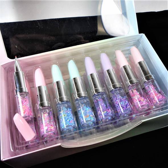 "4"" Novelty Lipstick Pens w/ Water & Floating Stars & Hearts  24 per bx .65 ea"