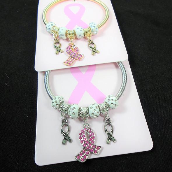 Gold & Silver Spring Style Bracelet w/ Pink Ribbon Charms .60 each