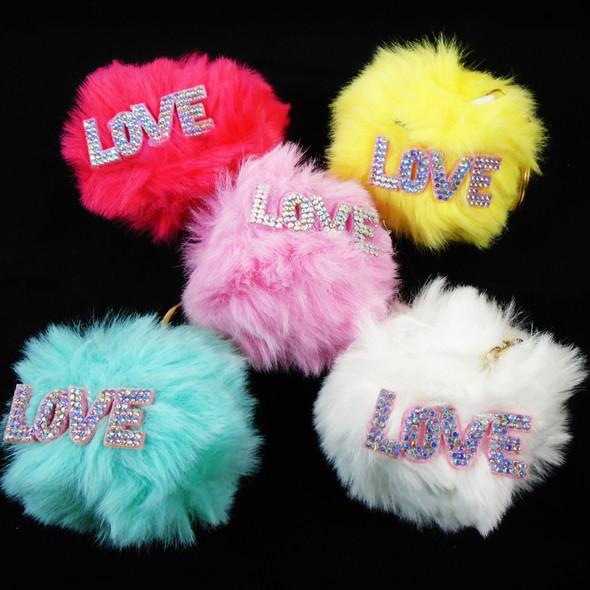 "3"" Faux Fur Keychains w/ LOVE Plaque Mixed Colors  .58  each"