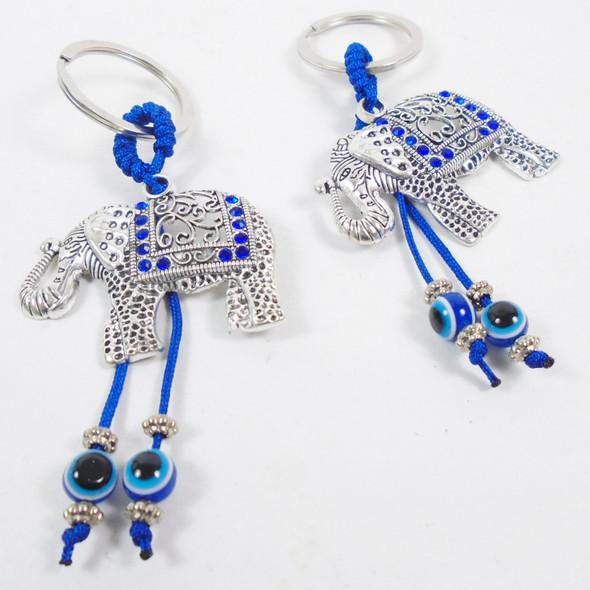 "2"" Cast Silver Elephant Trunk Up Keychains w/ Blue Stone & Eye Beads .58 ea"