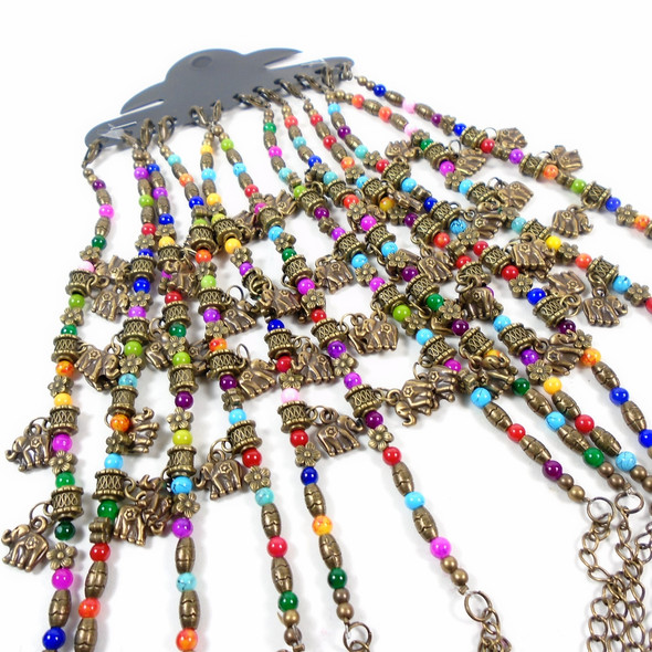 Antique Gold Elephant Charm Bracelets w/ Colored Beads  .58 each