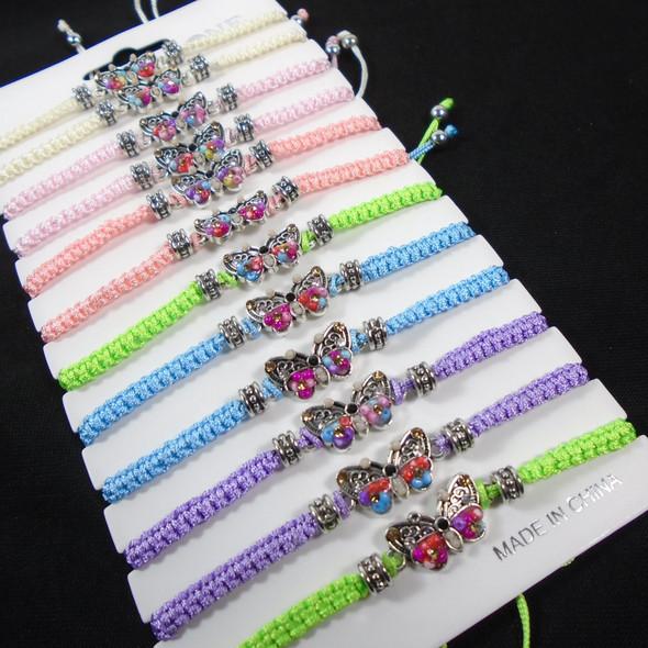 Macrame Bracelets w/ Bead & Crystal Butterfly Charm  12 per pk .58 ea
