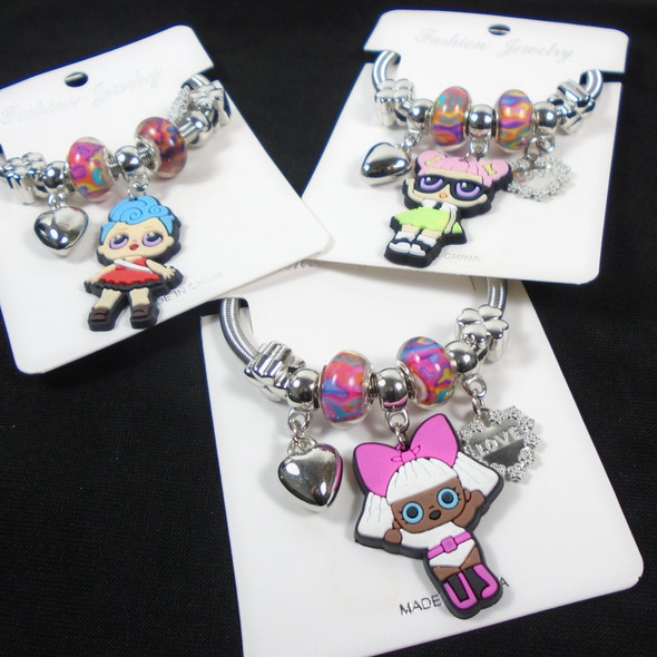 So Cute Girl's Silver Spring Style Charm Bracelets w/ Colored Beads   .58 each