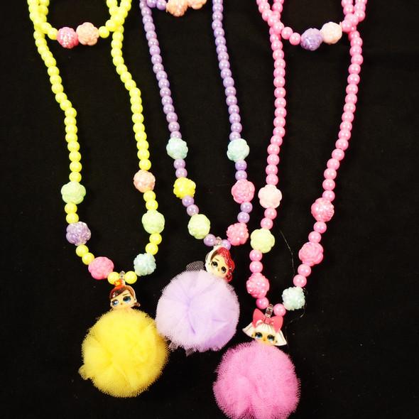 Kid's Beaded Bracelet & Necklace Set w/ Pom Pom Charm  .58 per set