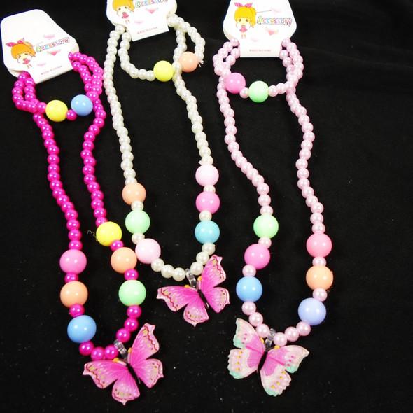 Kid's Beaded Bracelet & Necklace Set w/ Butterfly Charm  .56 per set