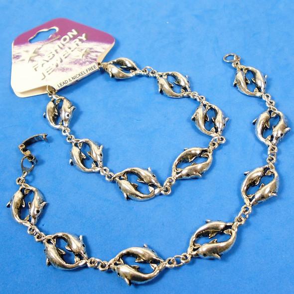 Silver Linked DBL Dolphin Fashion Bracelets  12 per pk  .62 each