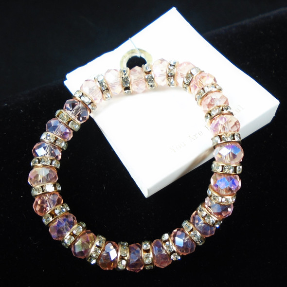 Lite Pink Color Cry. Glass Bead Stretch Bracelet w/ Mini Cry, Stones .62 each