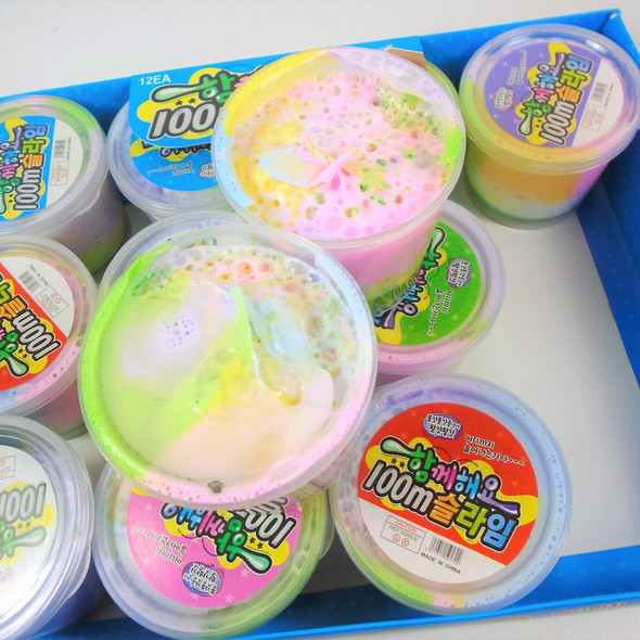 """3"""" Multi Color Foam Slime Cups Mixed Colors 12 per display bx  .75 each"""