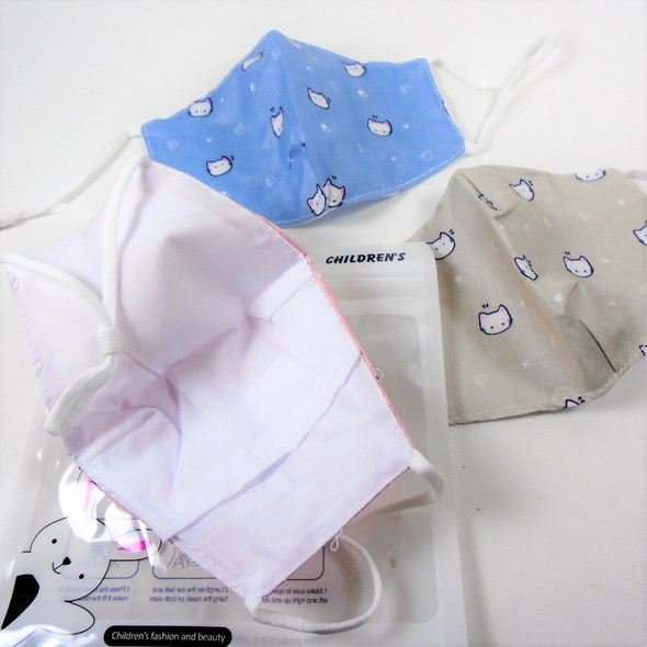 Kid Cat Theme 2 Layer w/ Filter Pocket  Adjustable Protective Face Mask  12 per pk .25  each