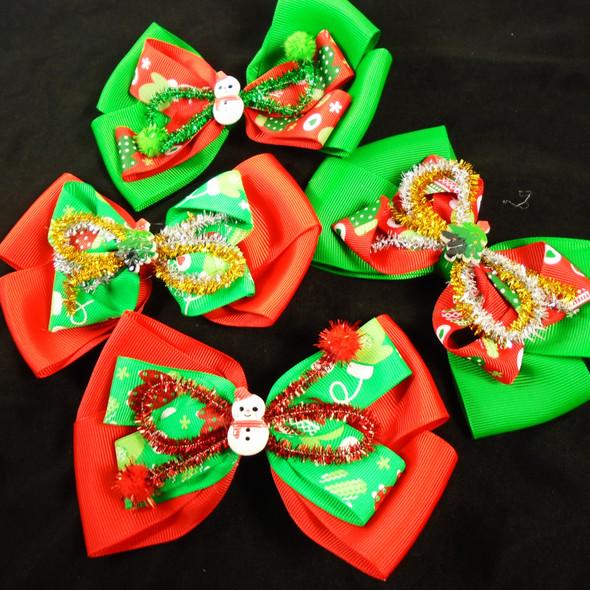 "6"" Layered Christmas Gator Clip Bows w/ Festive Center   .60 each"