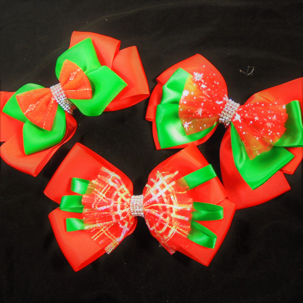 """5.5"""" Layered Christmas Gator Clip Bows w/ Cry. Stone Center  .58 each"""