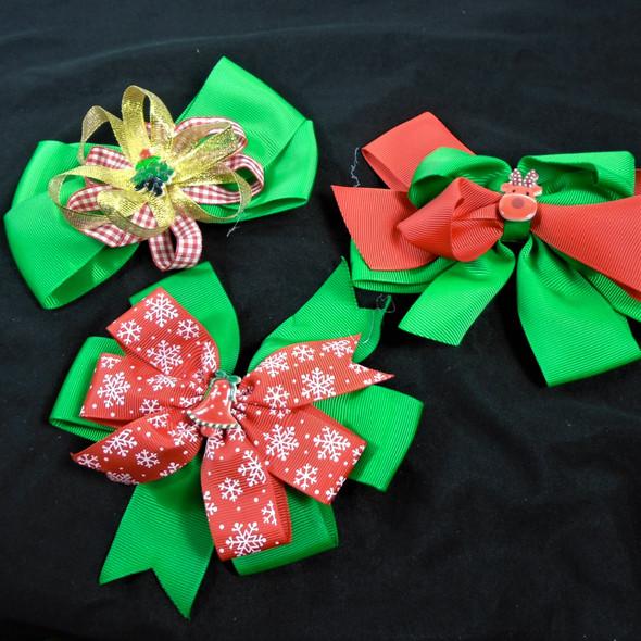 "5.5"" Layered Christmas Gator Clip Bows 3 styles per dz   .58 each"