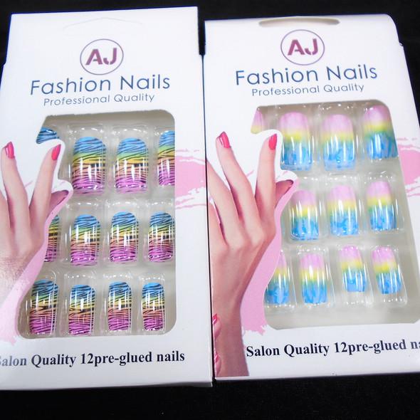Tye Dye/Zebra Print  12 Pk Pre Glued Fashion Nails  .58 each set