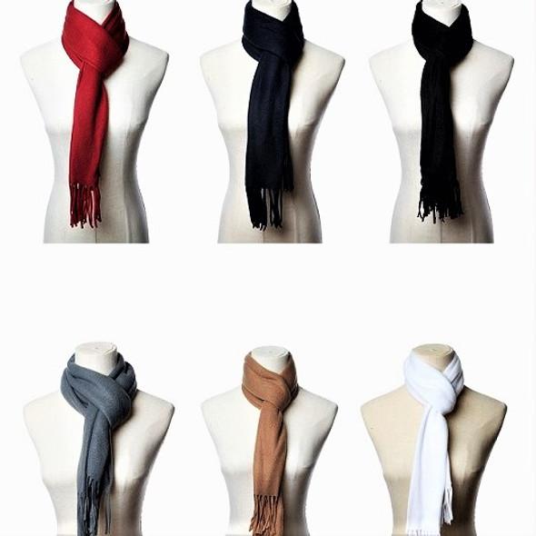 "12"" X 58"" Fleece Feel Fabric Scarf Mixed Colors 12 per pk  .79 each"
