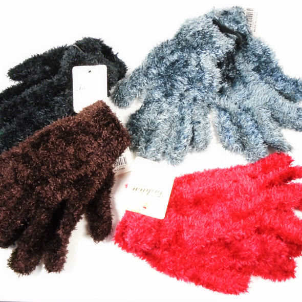 VALUE BUY Girls Fuzzie Winter Gloves Mixed Colors 12 pairs per pk .60 each