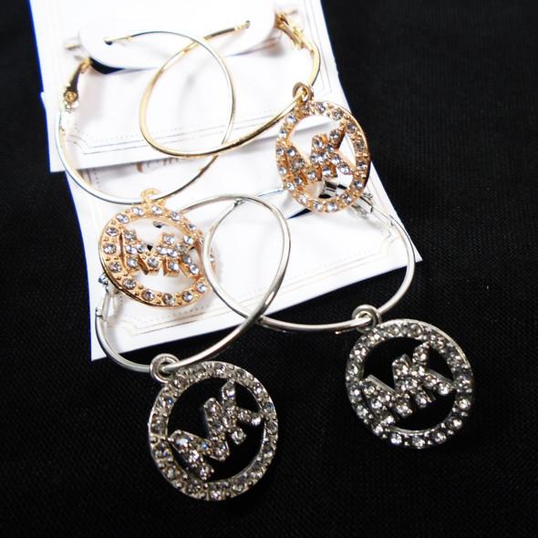 Gold & Silver Hoop Earrings w/ Crystal Stone Circle Drop Charm  .58 per pair
