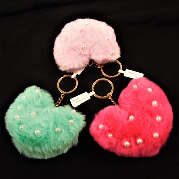 """2"""" X 3.5"""" Puffy Faux Fur Heart Key Chains w/ Pearls .60 each"""