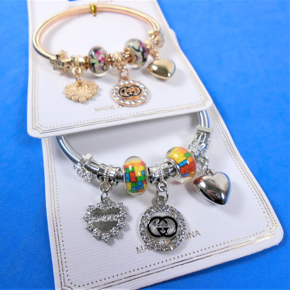 Gold & Silver Spring Style Beaded Bracelet w/ Hearts & DBL G Charms  .60  each