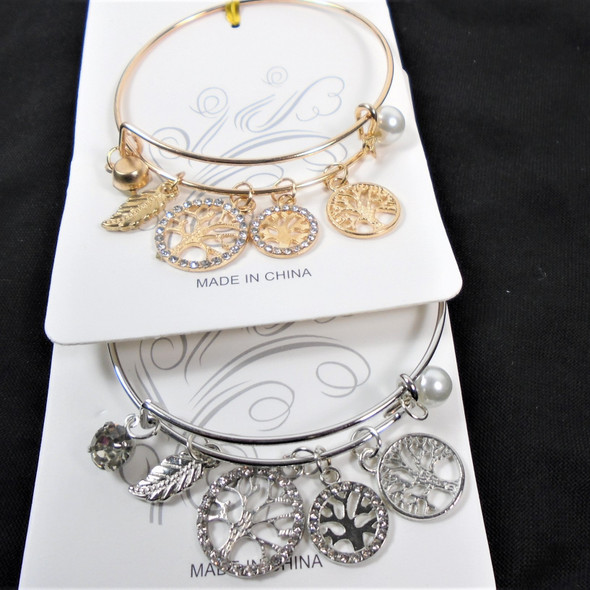 Gold & Silver Wire Bangle Bracelet w/  Mixed Tree of Life Charms  .58  ea