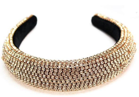 Gold Rhinestone Fashion Headbands w/ Clear Stones  sold by pc $ 4.50 ea