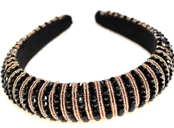 Black Crystal Bead  Fashion Headbands w/ Gold Seed Beads  sold by pc $ 3.00 ea