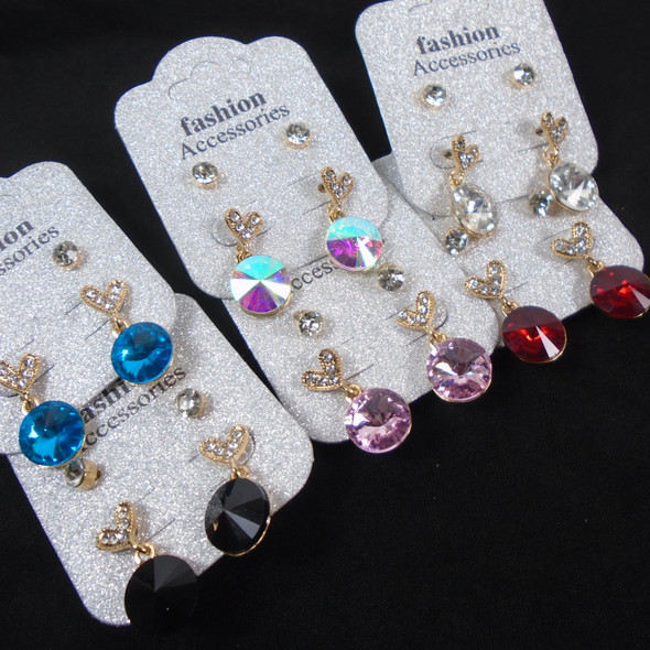 2 Pair Earrings Cry. Stone & Colored Glass   .60 per set