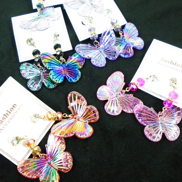 Super Shiney Acrylic Butterfly & Cry. Stone Earrings  .58 per pair