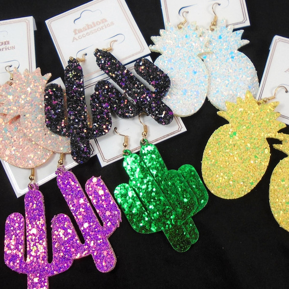 "2"" Sparkle Cactus & Pineapple Theme  Earrings  .58 per pair"