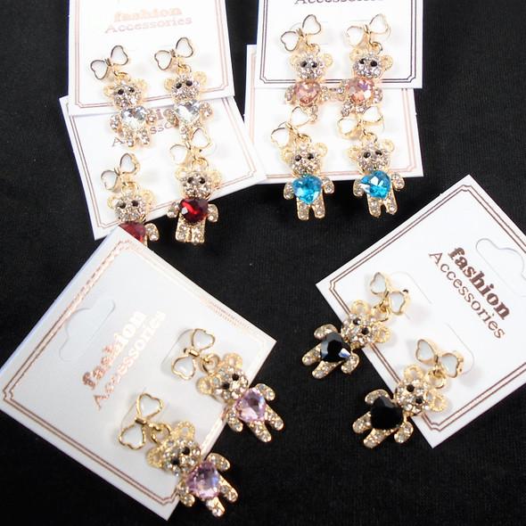Cute Cast Gold Crystal Stone Teddy Bear Theme Earrings    .60 per pair