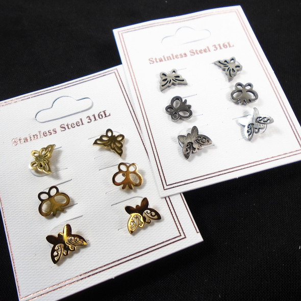 3 - Pair Gold & Silver Stainless Steel Earrings Butterfly Theme (2786)  .58 per set