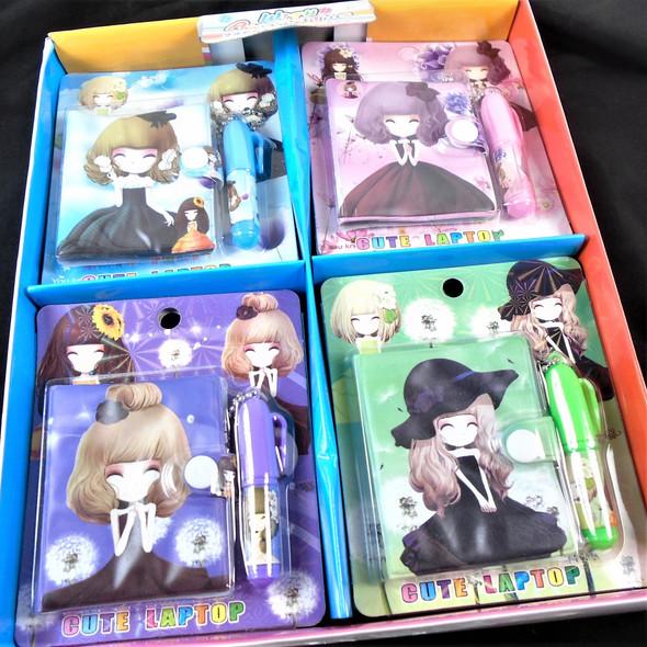 Cutie Girl Theme Mini Diary Set w/ Pen  24 per bx .60 each