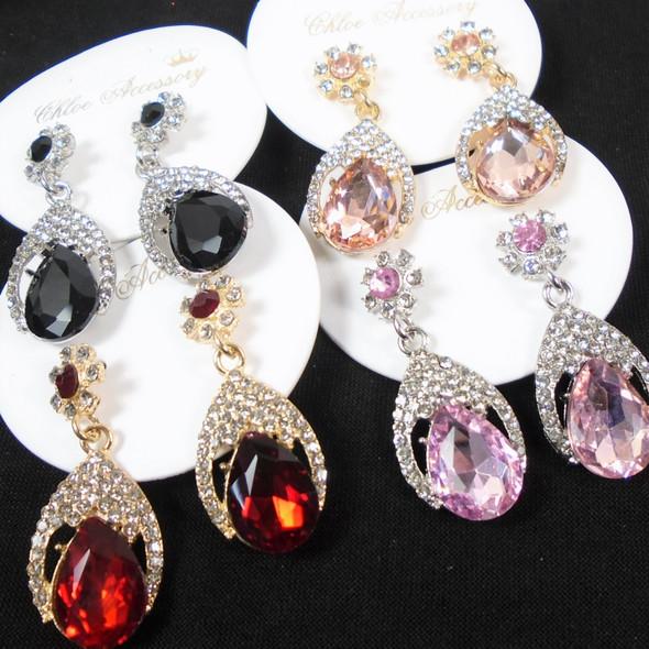 Elegant Gold & SIlver Cry. Stone Earring w/ Pear Shaped Stone .60 per apir