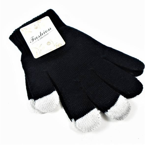 All Black Magic Knit Gloves w/ Touch Screen Tips ONLY .65 per pair