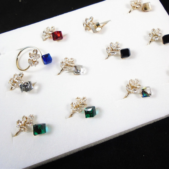 Gold Adj. Wire Fashion Rings w/ Glass Cube & Cry. Stone Flower  .58 each